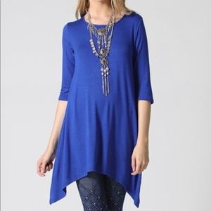 Bright Royal Blue Sidetail Tunic Medium NWT